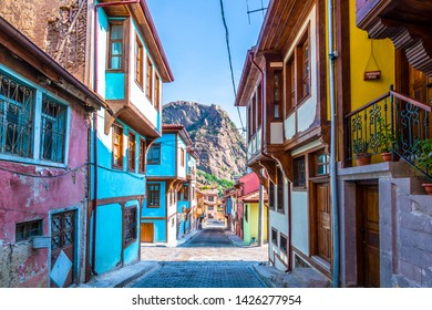 Afyonkarahisar old houses street view. Afyon is located center of Anatolia.