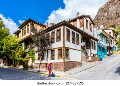 Afyonkarahisar old houses streets view. Afyon is located center of Anatolia.