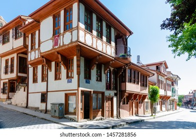 Afyonkarahisar ,TURKEY-May 14,2018: Beautiful old street in downtown with houses with wooden shutters in the classic Turkish Ottoman style, The two-storyed buildings .