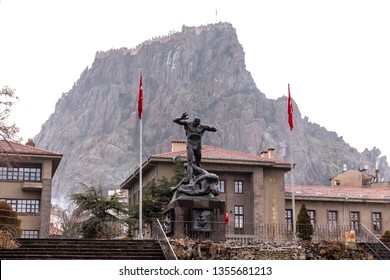 AFYONKARAHISAR,TURKEY,FEBRUARY 6,2019:View from the Cumhuriyet Square and Utku Monument in Afyonkarahisar. Afyonkarahisar is a city in western Turkey, the capital of Afyon Province.