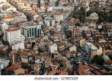 Afyon,Turkey - October 26,2017: Top view of the city. Afyonkarahisar