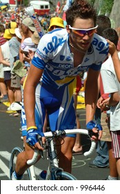 An AG2R rider on the  Alpe D'Huez Time Trial Tour de France 2004