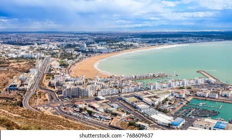 Agadir aerial panoramic view from the Agadir Kasbah or Agadir Fortress in Morocco