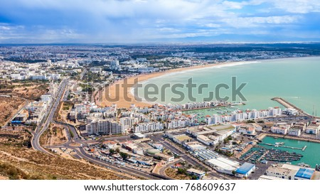 Agadir aerial panoramic view from the Agadir Kasbah or Agadir Fortress in Morocco