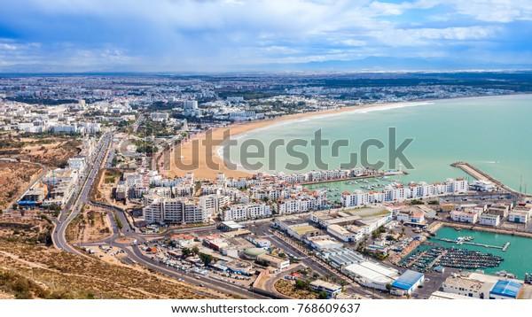 Panoramablick aus der Agadir Kasbah oder der Agadir Festung in Marokko