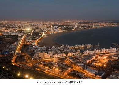 Agadir city at night, Morocco