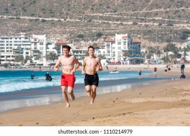 AGADIR - JAN 02: Sand Beach in Agadir on January 02. 2018 in Morocco