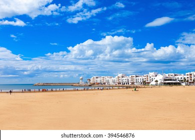 Agadir main beach in Agadir city, Morocco. Agadir is a major city in Morocco located on the shore of the Atlantic Ocean.
