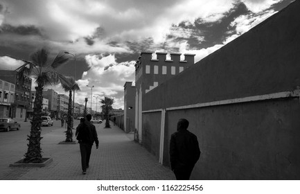 Agadir / Marocco - February 7 2018: Streets in Biougra, Agadir in Marocco Black and white street photography