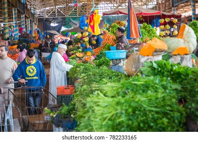 AGADIR, MOROCCO - DECEMBER 15, 2017 :Souk El Had, in the centre of Agadir. The market offers fresh fruit, vegetables, and traditional Moroccan goods.