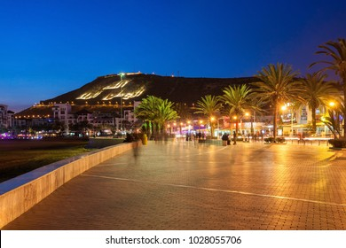 AGADIR, MOROCCO - FEBRUARY 20, 2016: Agadir seafront promenade at the night, Morocco. Agadir is a major city in Morocco located on the shore of Atlantic Ocean.