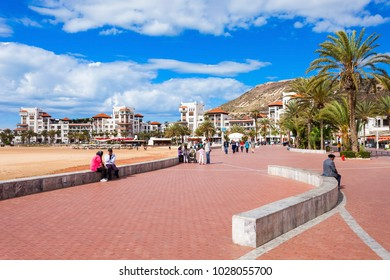 AGADIR, MOROCCO - FEBRUARY 21, 2016: Agadir seafront promenade in Morocco. Agadir is a major city in Morocco located on the shore of the Atlantic Ocean.