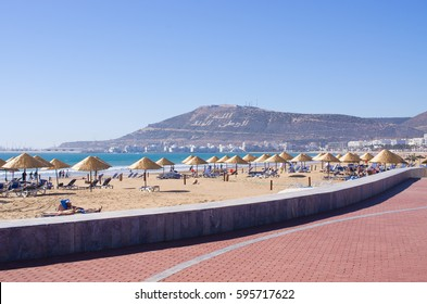 Agadir, Morocco - March 22, 2016: Beach. Main beach of Agadir city in Morocco during the early spring.