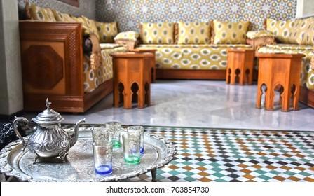 AGADIR, MOROCCO - OCT 1, 2016: Traditional Moroccan interior design