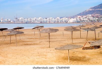 Agadir sand beach, Morocco.