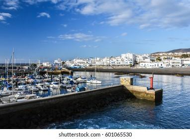 AGAETE, GRAN CANARIA, SPAIN -FEBRAURY 10: Puerto de las Nieves, the port of the town Agaete on the north-western coast of Gran Canaria