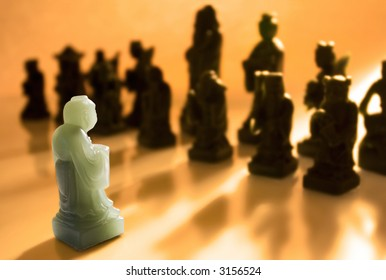 """""""Against All Odds"""" - One chess pawn facing the opposing side alone."""