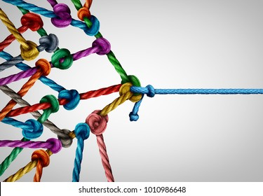 Against many business concept as one underdog single rope pulling in a tug of war with a large group of ropes tied together as a power and leader metaphor.