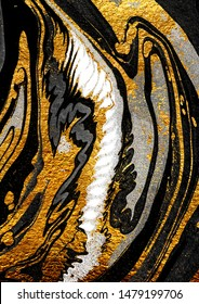 Agate Crystal. Golden swirl, artistic design. The revival of Oriental Ancient art. Suminagashi – the ancient art of Japanese marbling. Masterpiece of designing art, exotic paper texture.