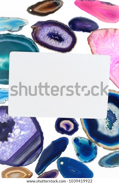 Agate Stone mockup.white rectangular card with colorful agate stone on white background.Flat lay,  copy space.