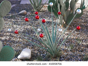 Agave plant decorated with glass balls for Christmas