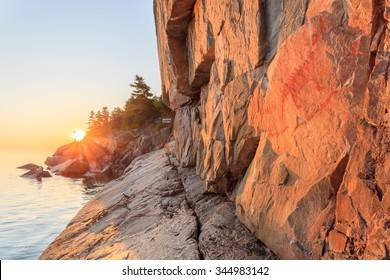 Agawa Rock in the Lake Superior Provincial Park at sunset