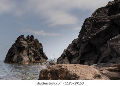 Agde Cape's rocky coastline landscape , France