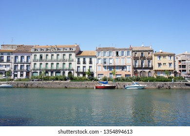 Agde, France. Homes on the water. Boats on the water. South of France