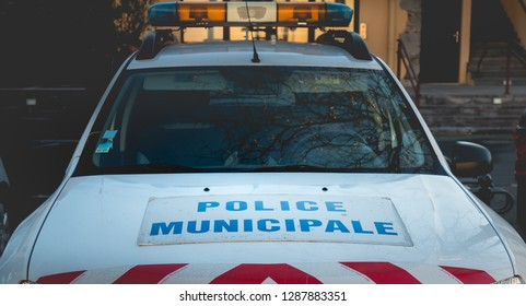 Agde, France - January 1, 2019: closeup on a car of the municipal police of Agde on a winter day parked in the city center