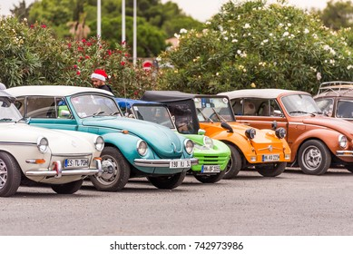AGDE, FRANCE - SEPTEMBER 9, 2017: Group of Volkswagen Beetles exhibited during the 16th Volkswagen Meeting of Cap d'Agde.