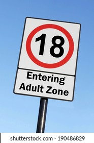 At the age of 18, you are entering the adult zone birthday concept made as a road sign illustration.