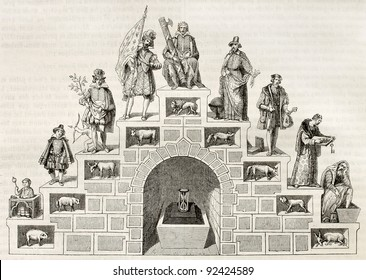 Age double stair symbolic illustration. After antique print of 16th century, published on Magasin Pittoresque, Paris, 1845