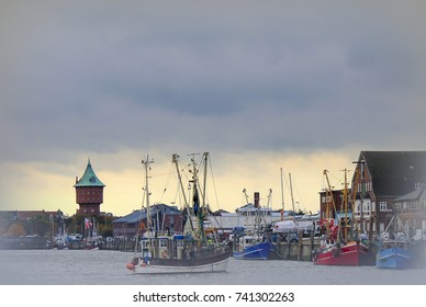 Age fishing port in Cuxhaven overlooking the Water Tower