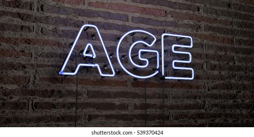 AGE -Realistic Neon Sign on Brick Wall background - 3D rendered royalty free stock image. Can be used for online banner ads and direct mailers.