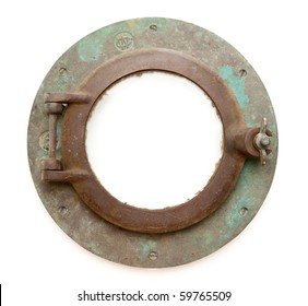 Aged Antique Ship Porthole Isolated on a White Background with Clipping Path -Inner and Outer.