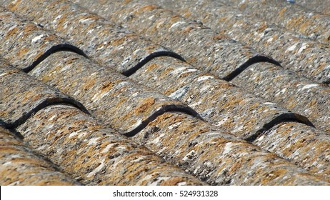 Aged asbestos-cement roof texture