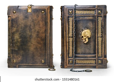 Aged brown leather book with the Latin text Memento Mori (Remember you must die) as a gilded frame, the skull in the center and the chain over the cover captured in standing position
