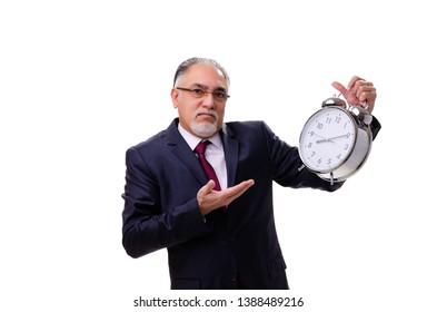 Aged businessman employee isolated on white
