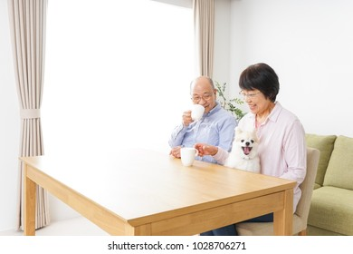 Aged couple being relaxed at home