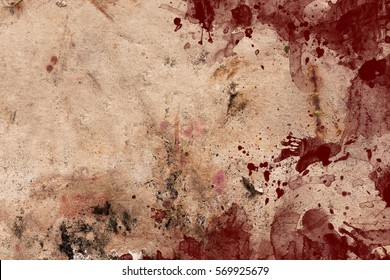 Aged dark paper with blood spots