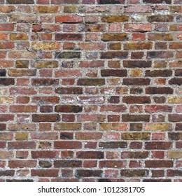 Aged dark red brick wall seamless 2k texture