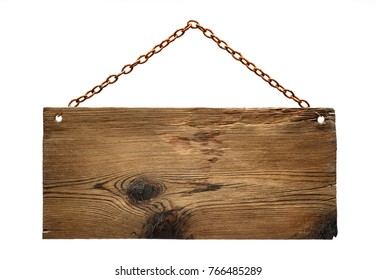 aged dark wood signboard hanging on a rustry chain,isolated on white