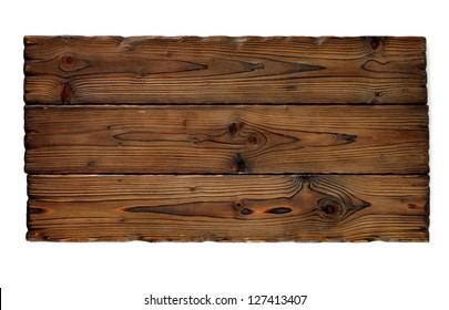 aged dark wood table isolated