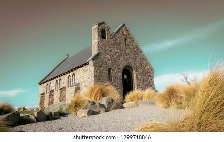 Aged effect image of iconic  Church of Good Shepherd and surrounds at Lake Tekapo New Zealand