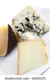 aged french delicatessen cheeses on white porcelain plate