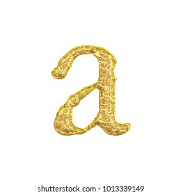 Aged gold rough cracked golden lowercase or small letter A in a 3D illustration with a weathered surface style rustic gold font isolated on a white background with clipping path.
