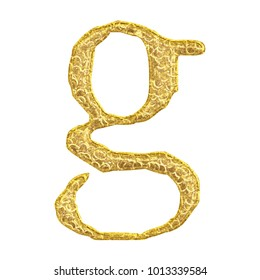 Aged gold rough cracked golden lowercase or small letter G in a 3D illustration with a weathered surface style rustic gold font isolated on a white background with clipping path.