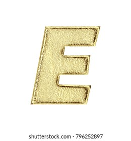 Aged golden metal style uppercase or capital letter E in a 3D illustration with a rustic rough textured surface and gold color in a basic bold font isolated on a white background with clipping path.