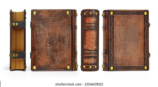 Aged leather book captured in standing position from all four sides. Picture width > 10k px.