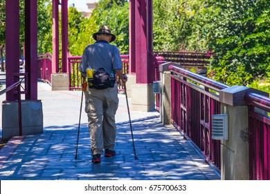 Aged Man Walking For Exercise